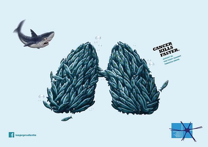 AAPC - Shark - Cancer kills faster. Gráfica publicitaria del TOP10 de la Agencia de Comunicación y Marketing Oink my God - TopOinkAd
