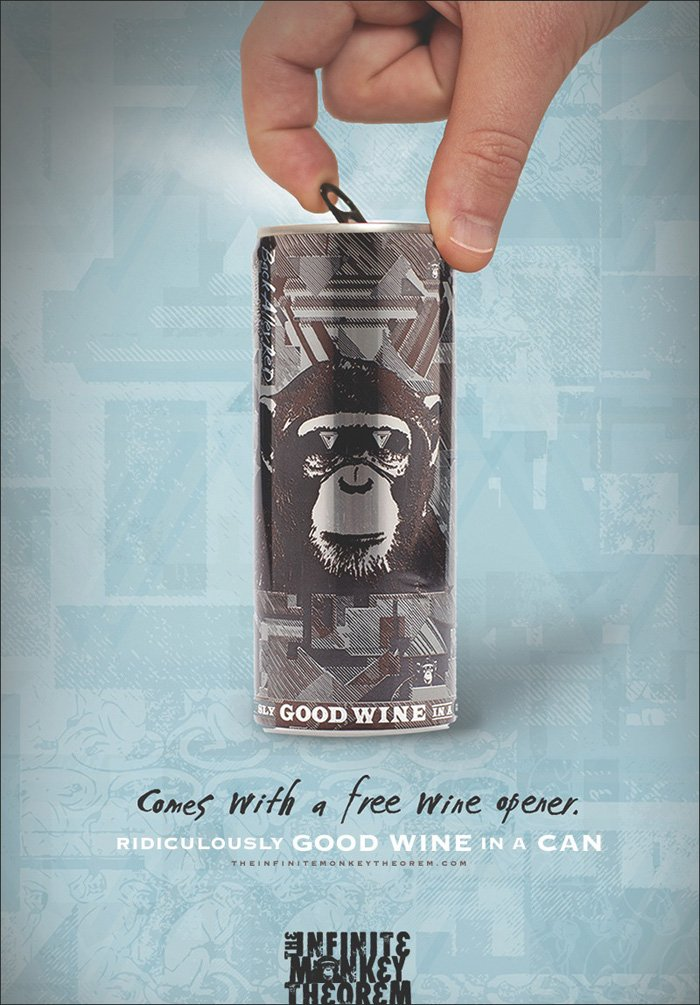 The Infinite Monkey Theorem - Wine opener Comes with free wine opener. Ridiculously good wine in a can