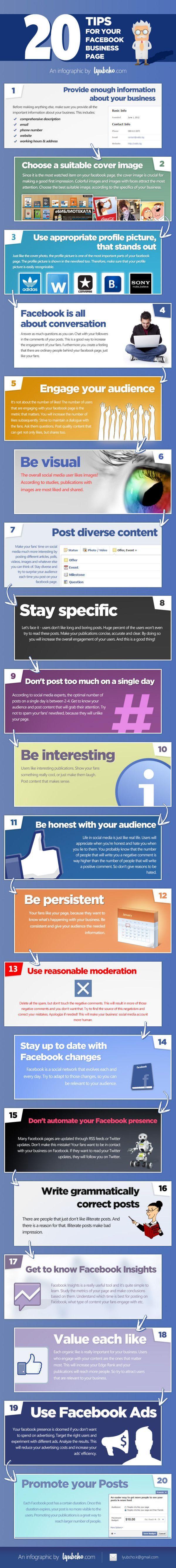 20 trucos para perfeccionar tu página de Facebook - Infografía