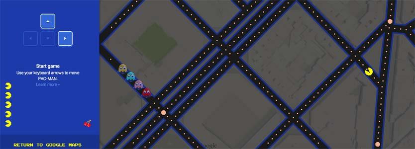 Google convierte Google Maps en un PacMan - April's Fool Day