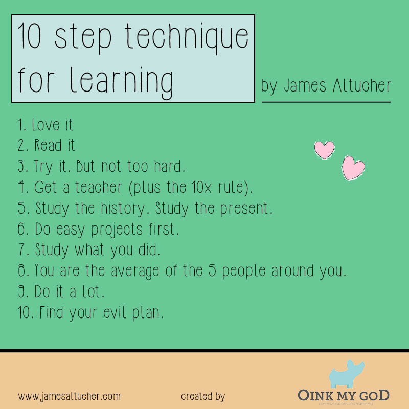 10 step techique for learning by James Altucher