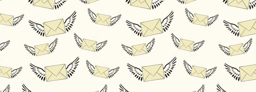emails con alas dibujados volando