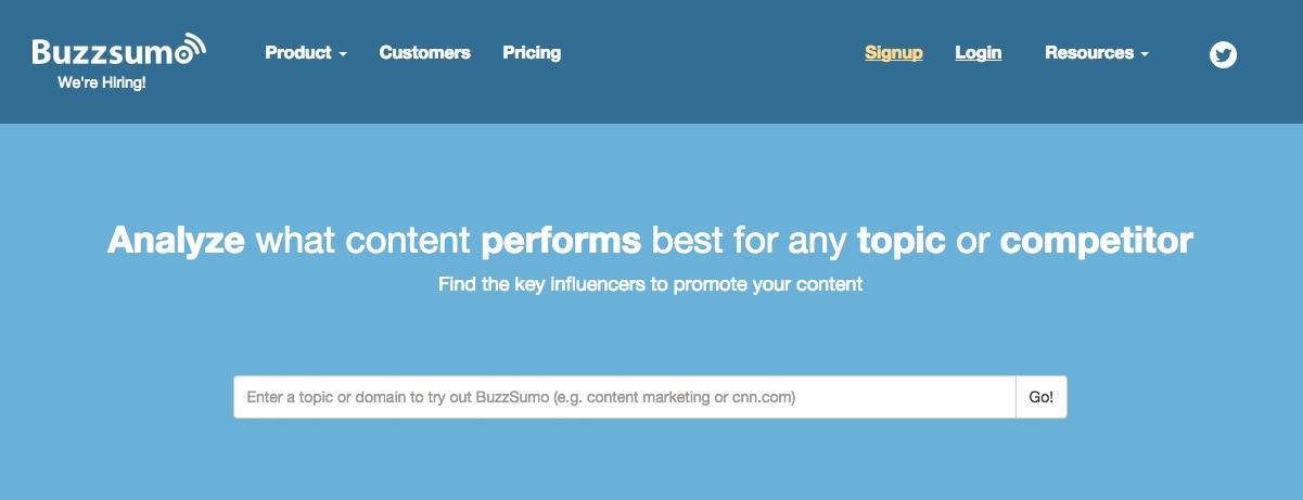 Buzzsumo - 12 herramientas para buscar influencers en Redes Sociales