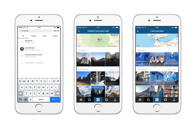 Tres iPhones con los cambios de Instagram 7.0