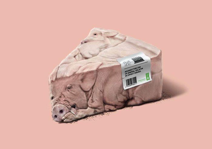 Anuncio de VEBU. Trozo de tarta hecha de cerdos rosas. No dejes que las gominolas estén hechas de carne.
