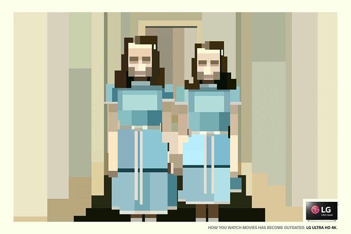 Anuncio de LG. Las gemelas pequeñas de El Resplandor vistas en píxeles con definición muy baja.Anuncio para el Top Oink Ad, el Top10 de lo mejor de la publicidad gráfica internacional.