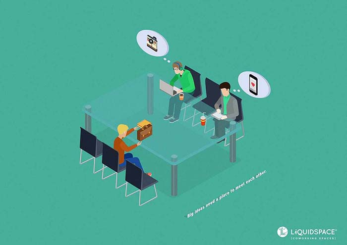 Anuncio de Liquidspace. Mesa grande donde se encuentran los creadores de Instagram, cada uno con una idea que hará que se cree la marca.