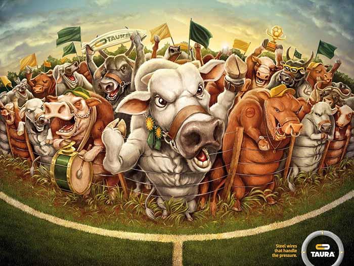 Anuncio de Taura. Dibujo de toros animando a un equipo.