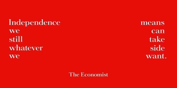 Anuncio de The Economist en rojo sobre la independencia.