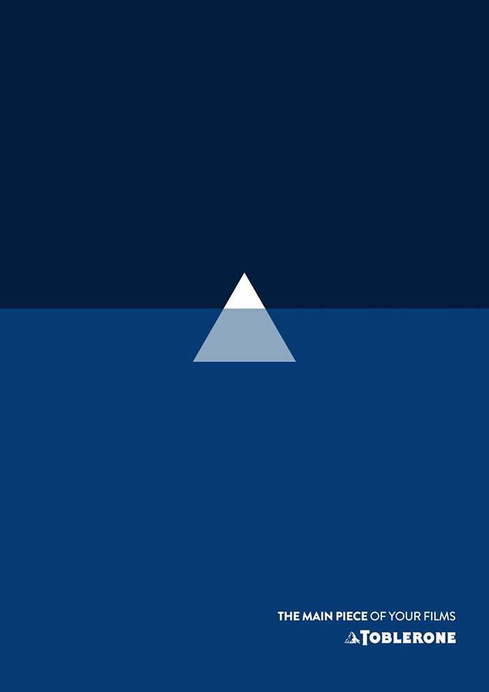 Anuncio de Toblerone. Triángulo de toblerone haciendo de iceberg en la película Titanic