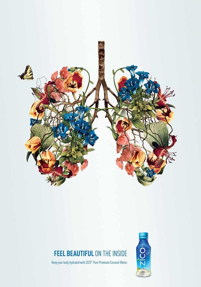 Anuncio de Zico Coconut Water. Dibujo de pulmones hechos con flores de colores y mariposas.