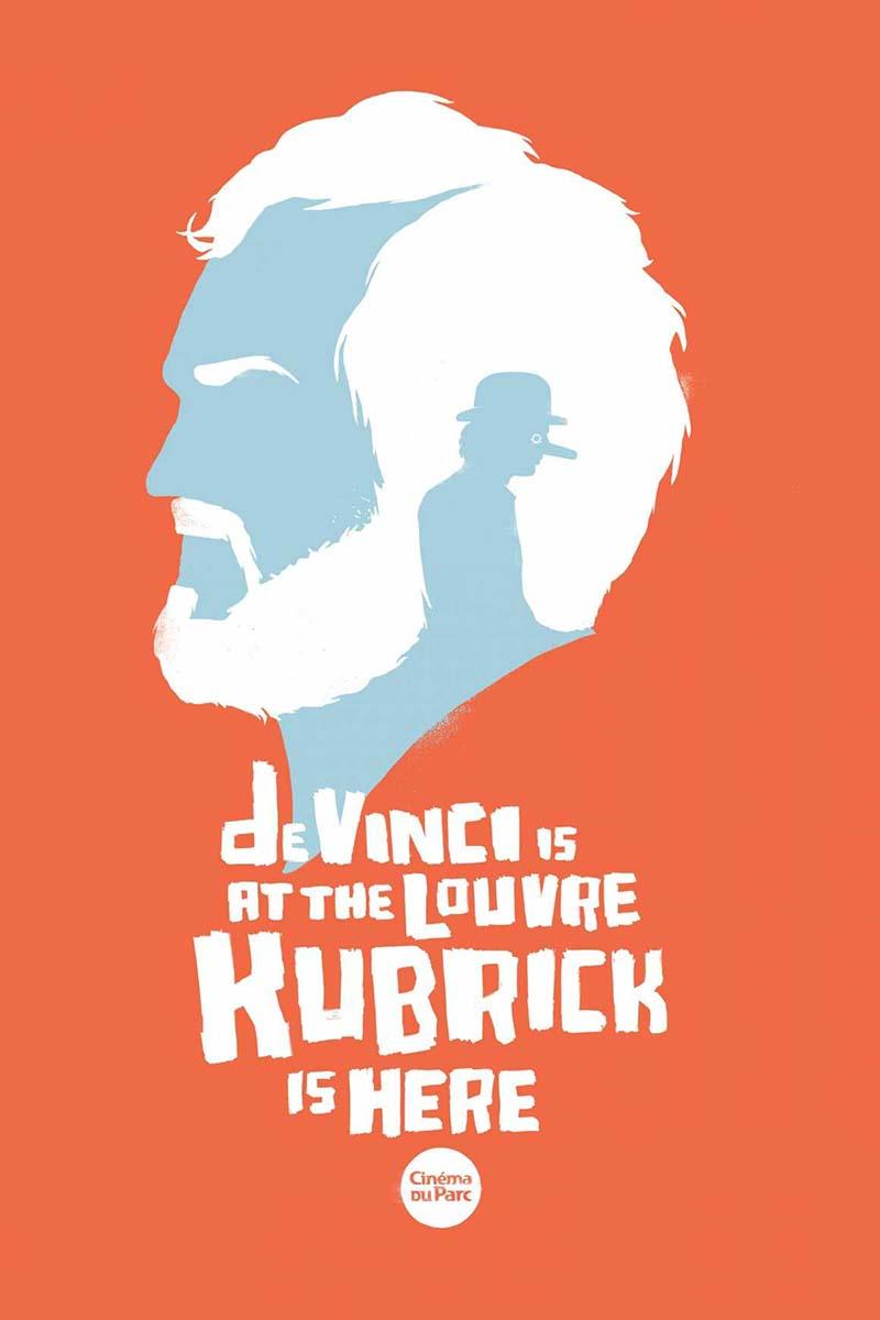 Anuncio de Cinema du Parc. Cartel DaVinci está en el Louvre. Kubrick está aquí.