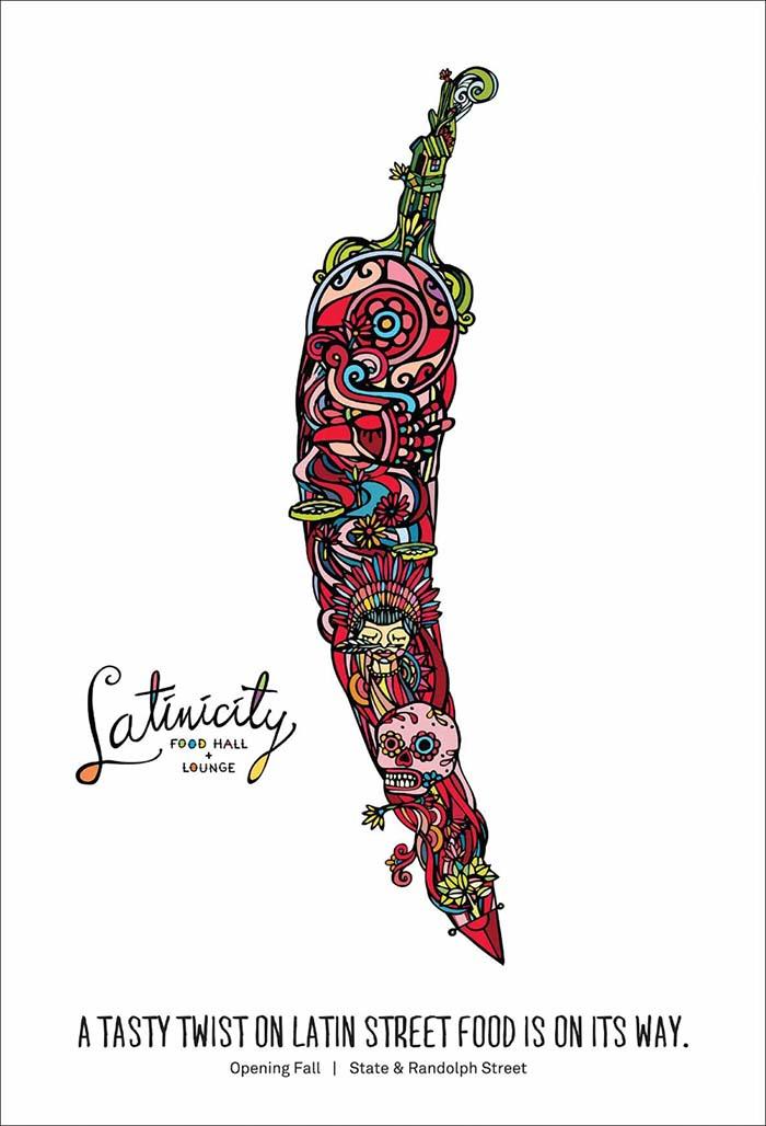 Anuncio de Latinicity Food Hall + Lounge. Dibujo de un chili con motivos mexicanos.