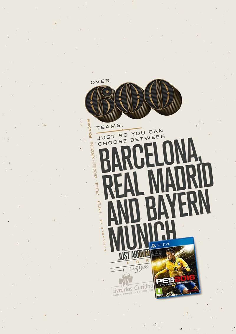 Anuncio de Livrarias Curitiba. Más de 600 equipos y tu sólo elegirás entre Barcelona, Real Madrid y Bayern de Munish.
