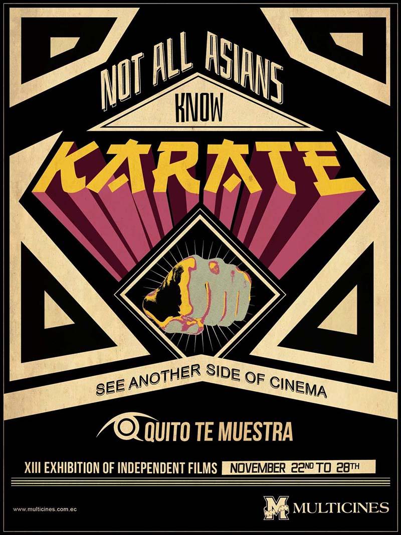 Anuncio de Multicines. No todos los asiáticos saben Karate. Mira otro tipo de cine en el festival de Quito.