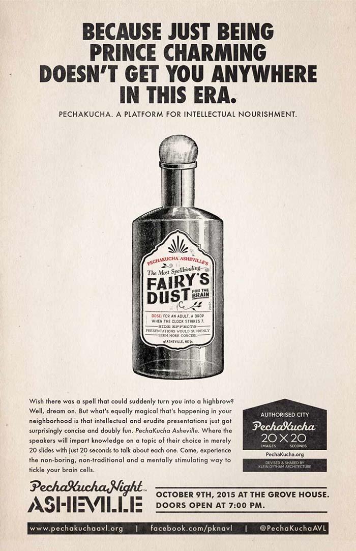 Anuncio de PechaKucha. Botella de polvo de hadas.