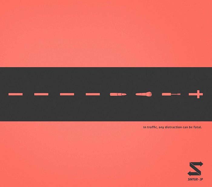 Anuncio de Sintur-JP. Carretera con las líneas que se convierten en maquillaje y finalmente en una cruz.