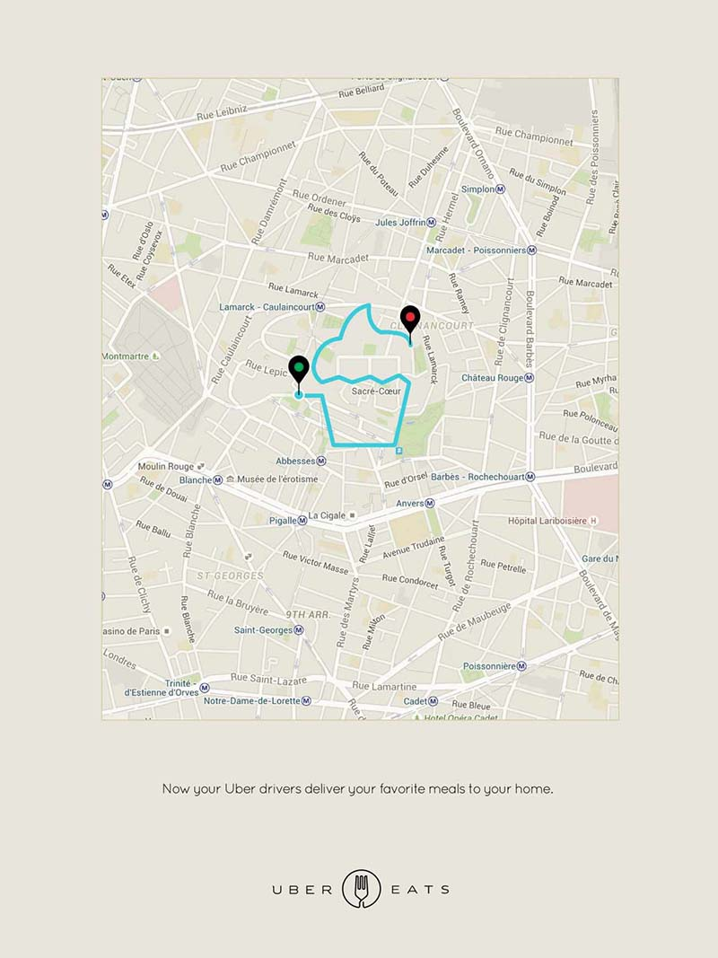 Anuncio de UberEATS. Mapa con línea que va de un punto a otro formando un cupcake.