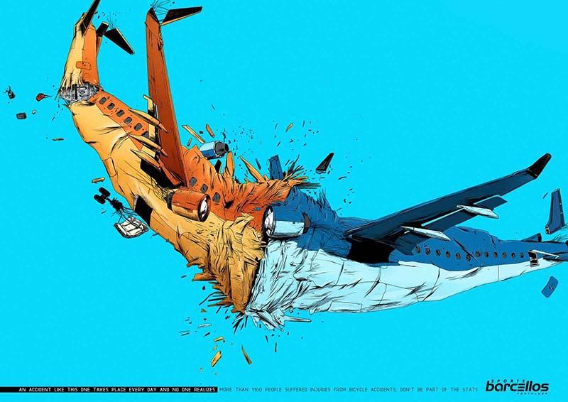 Anuncio de Barcellos Sports. Dibujo de dos aviones chocándose.