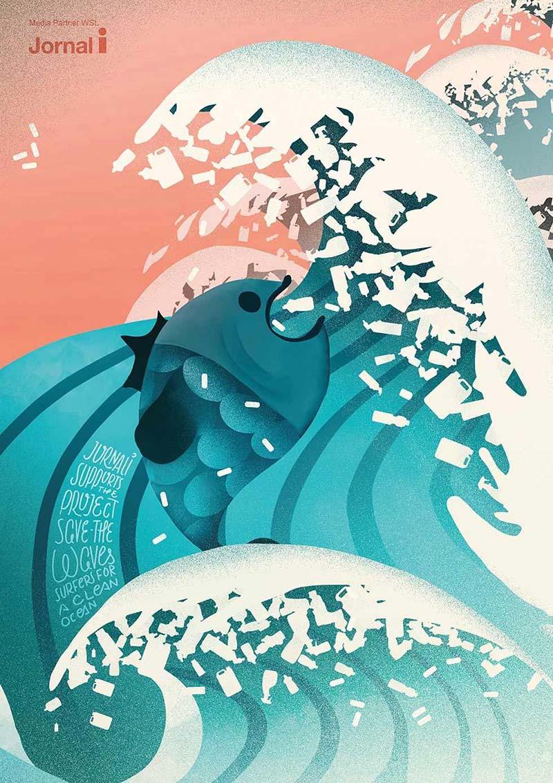 Anuncio de Jornal i. Dibujo de olas japonesas y un pez.