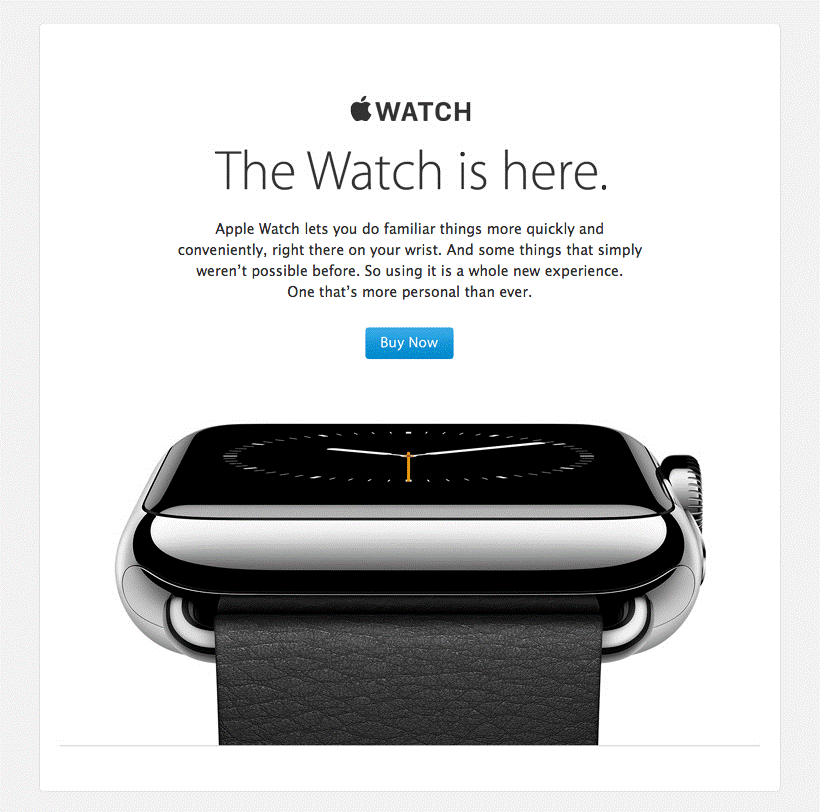 razones para hacer email marketing ejemplo Apple Watch