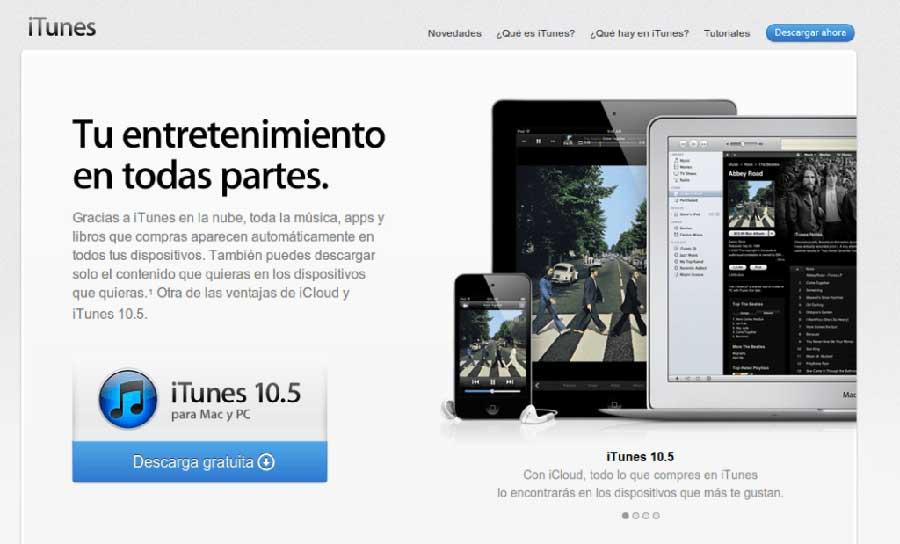 Diccionario de Redes Sociales. Ejemplo Landing Page iTunes