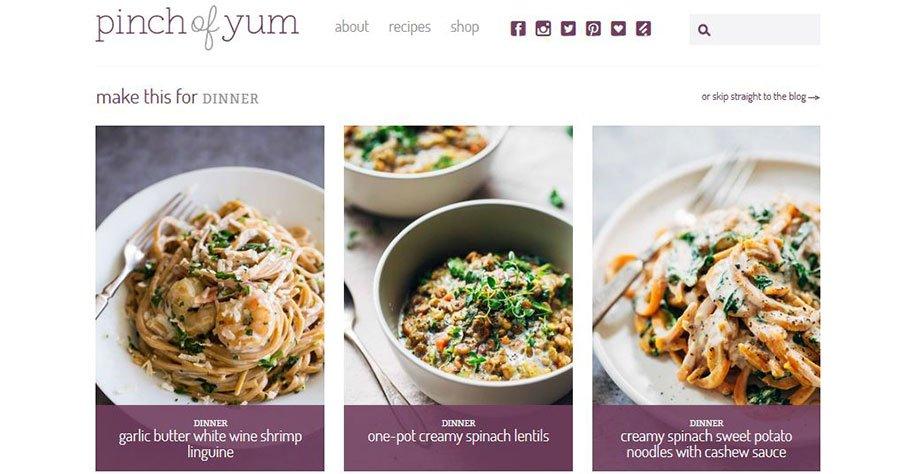 Ejemplo de cómo ganar dinero con tu blog: pinch of yum