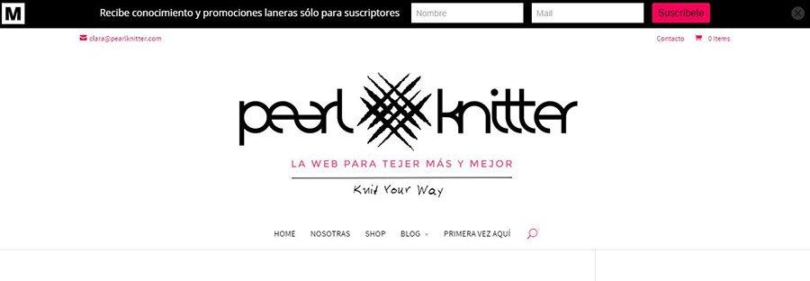 Dónde incluir los CTA para mejorar la conversión de tu web: CTA Cabezera Pearl Knitter