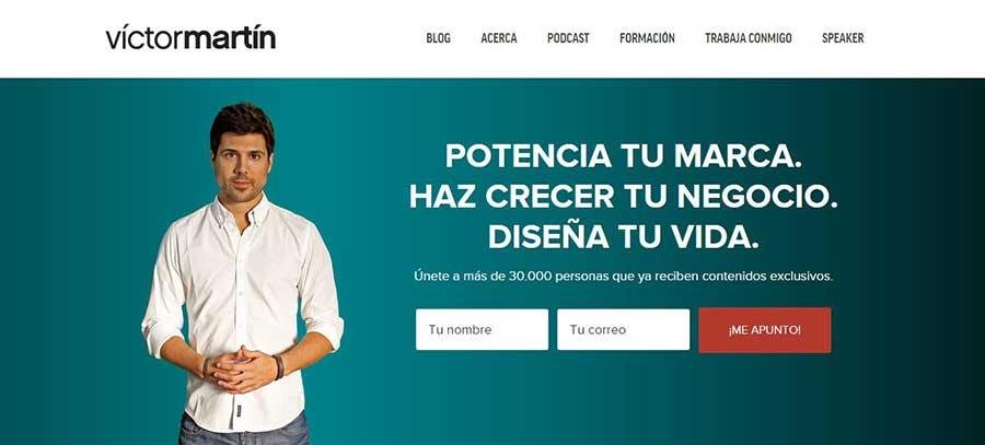 Dónde incluir los CTA para mejorar la conversión de tu web - CTA Página de Inicio Víctor Martín