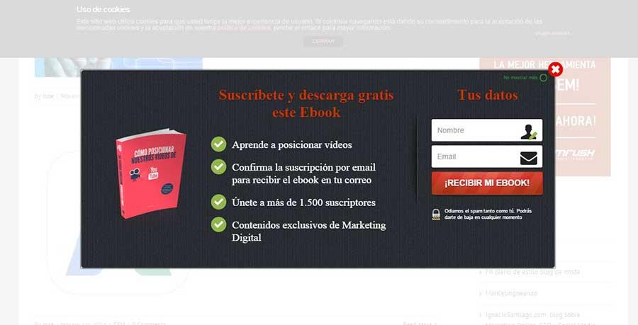 Dónde incluir los CTA para mejorar la conversión de tu web - CTA Pop Up de José Galan