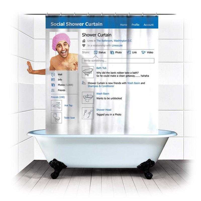 Los mejores regalos para marketeros: cortina de baño redes sociales
