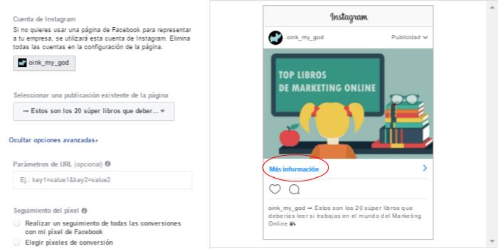 más información en campañas de publicidad en Instagram