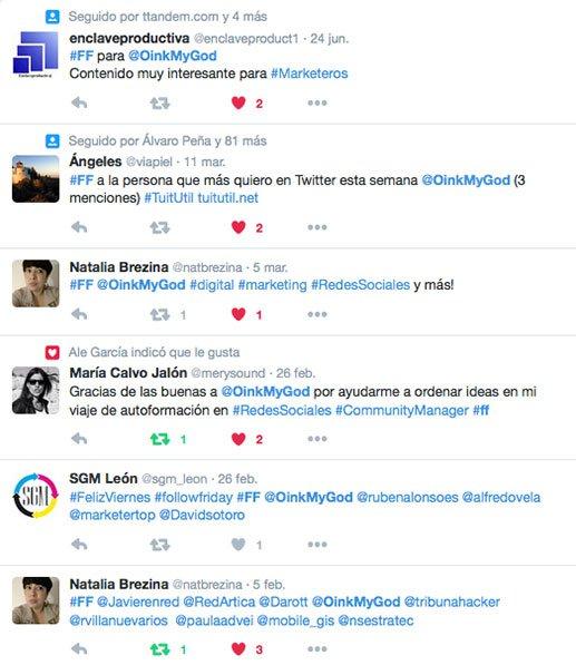 Cómo conseguir seguidores en Twitter: tweets con #ff #followfriday