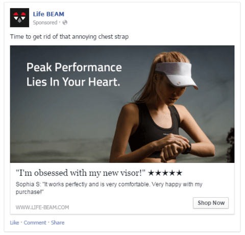Anuncio en Facebook Ads de LIfe Beam