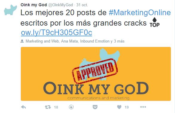 Ejemplo engagement según en título - Web Oink My God