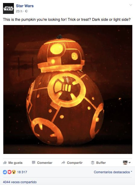 post para aumentar el engagement en Facebook. Star Wars especial Halloween