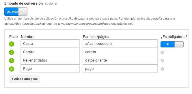 Embudo de conversión en log objetivos de Google Analytics