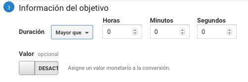 Objetivo duración en Google Analytics