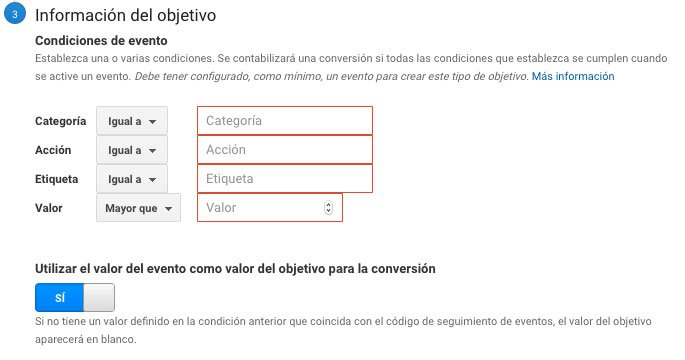 Objetivo evento Google Analytics