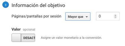 Paginas por sesion objetivo en Google Analytics