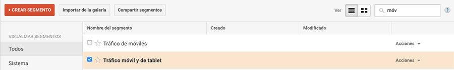 Cómo usar Google Analytics para mejorar la estrategia de contenidos de tu blog. Segmento Google Analytics dispositivos moviles
