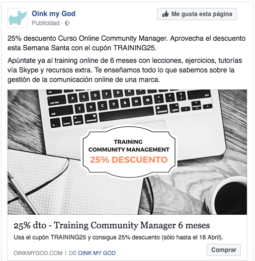 Tácticas de remarketing en Facebook Ads. Anuncio training oink my god