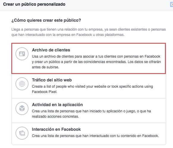 Tácticas de remarketing en facebook ads. Archivo de clientes