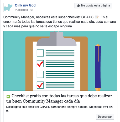 Tácticas remarketing en Facebook Ads. Ejemplo anuncio facebook lead ads