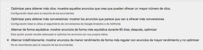 errores en Google AdWords. Rotación de anuncios. Configuración campaña Google Adowords