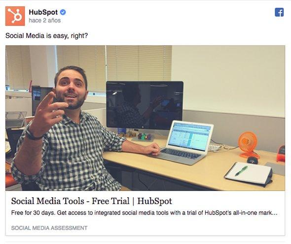 hubspot campaña free trial facebook ads b2b