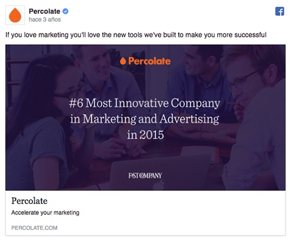Percolate campaña facebook ads b2b