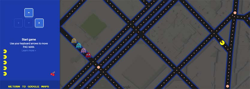 Google convierte Google Maps en un PacMan - April's Fool Day