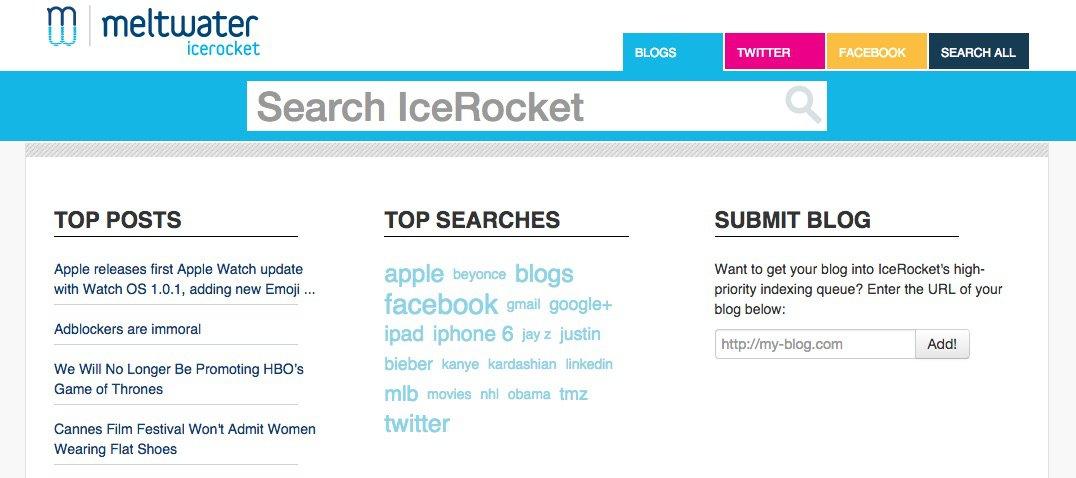 IceRocket - Herramientas para monitorizar tu marca en las Redes Sociales