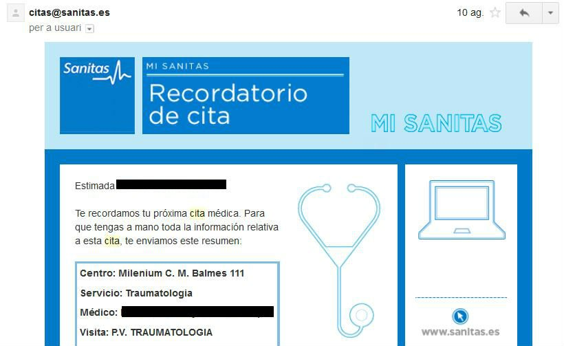 razones para hacer email marketing ejemplo Sanitas